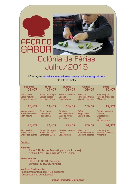 Calendario AS julho 2015 colonia de ferias